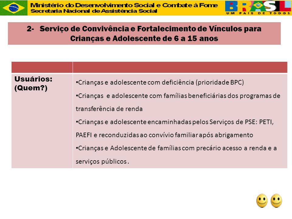 2- Serviço de Convivência e Fortalecimento de Vínculos para Crianças e Adolescente de 6 a 15 anos
