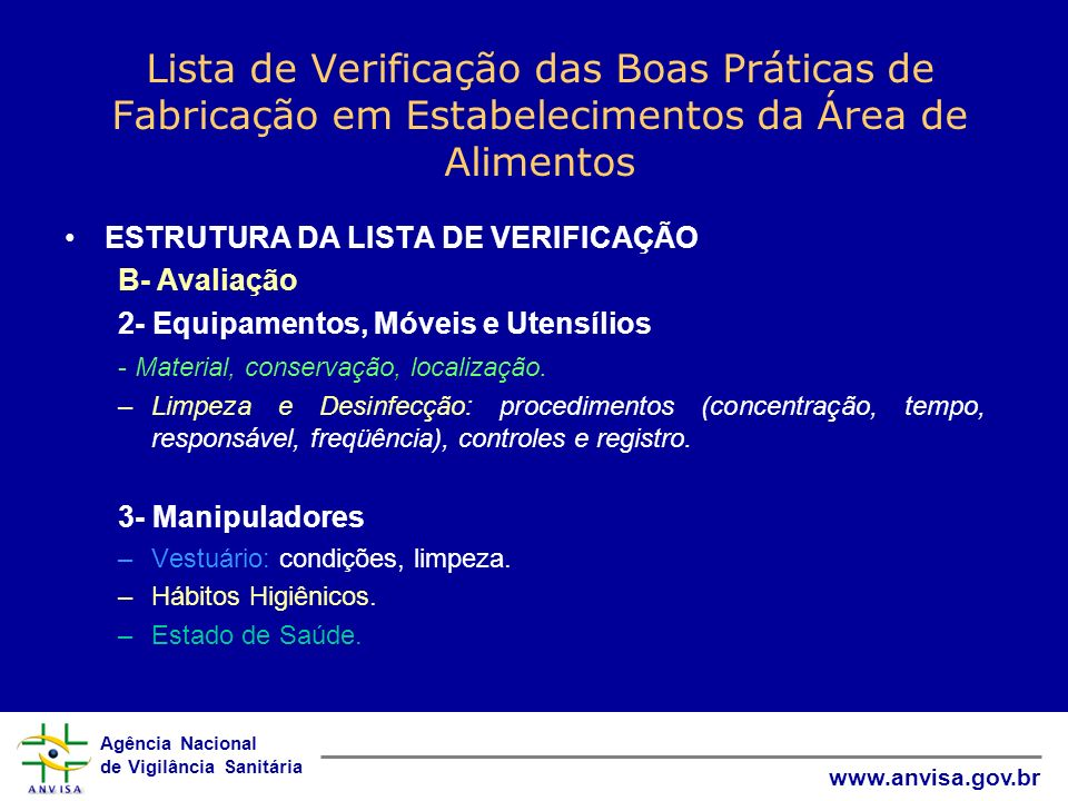 Lista de Verificação das Boas Práticas de Fabricação em Estabelecimentos da Área de Alimentos