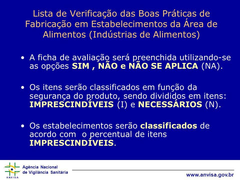 Lista de Verificação das Boas Práticas de Fabricação em Estabelecimentos da Área de Alimentos (Indústrias de Alimentos)