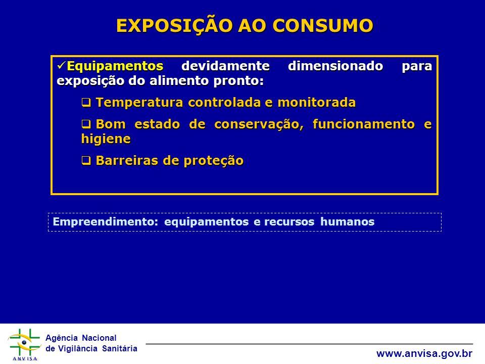 EXPOSIÇÃO AO CONSUMO Equipamentos devidamente dimensionado para exposição do alimento pronto: Temperatura controlada e monitorada.