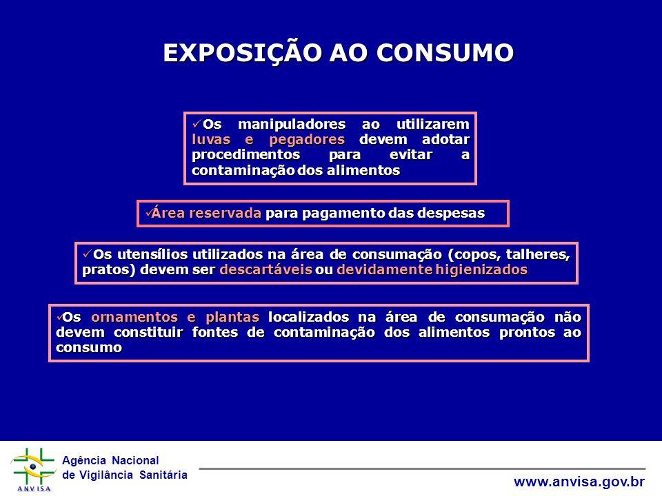 EXPOSIÇÃO AO CONSUMO Os manipuladores ao utilizarem luvas e pegadores devem adotar procedimentos para evitar a contaminação dos alimentos.