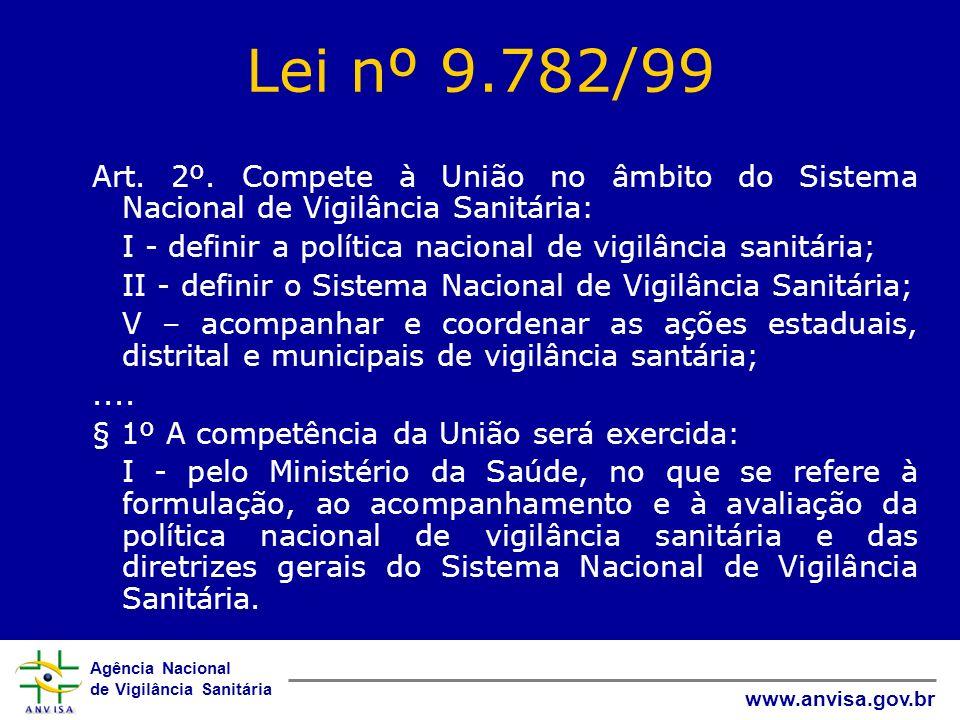Lei nº 9.782/99 Art. 2º. Compete à União no âmbito do Sistema Nacional de Vigilância Sanitária:
