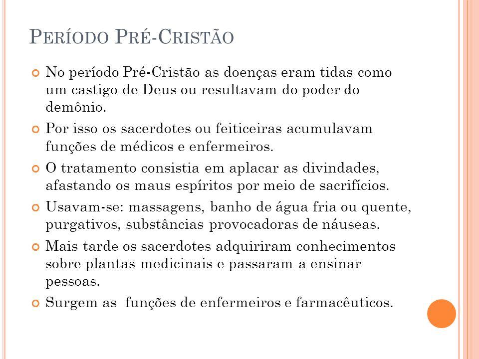 Período Pré-Cristão No período Pré-Cristão as doenças eram tidas como um castigo de Deus ou resultavam do poder do demônio.