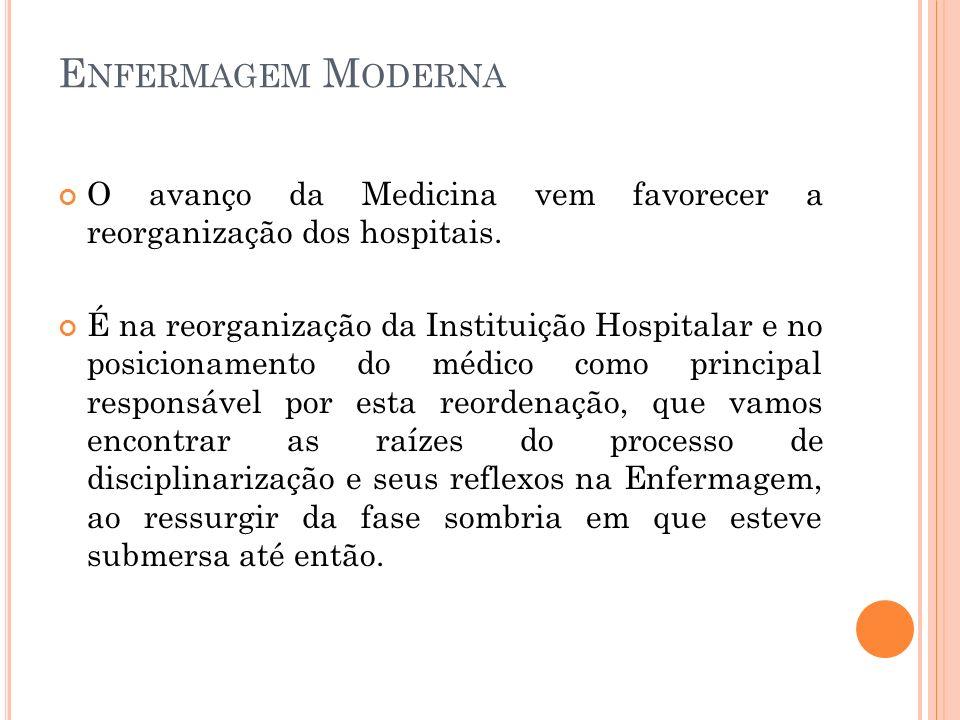 Enfermagem Moderna O avanço da Medicina vem favorecer a reorganização dos hospitais.