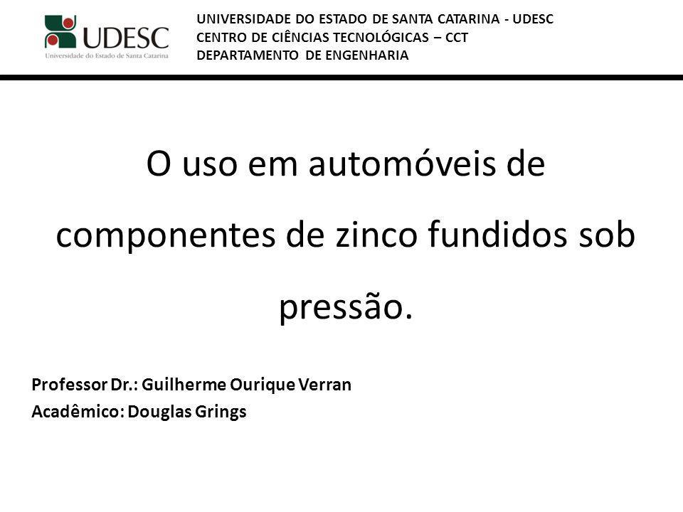 O uso em automóveis de componentes de zinco fundidos sob pressão.