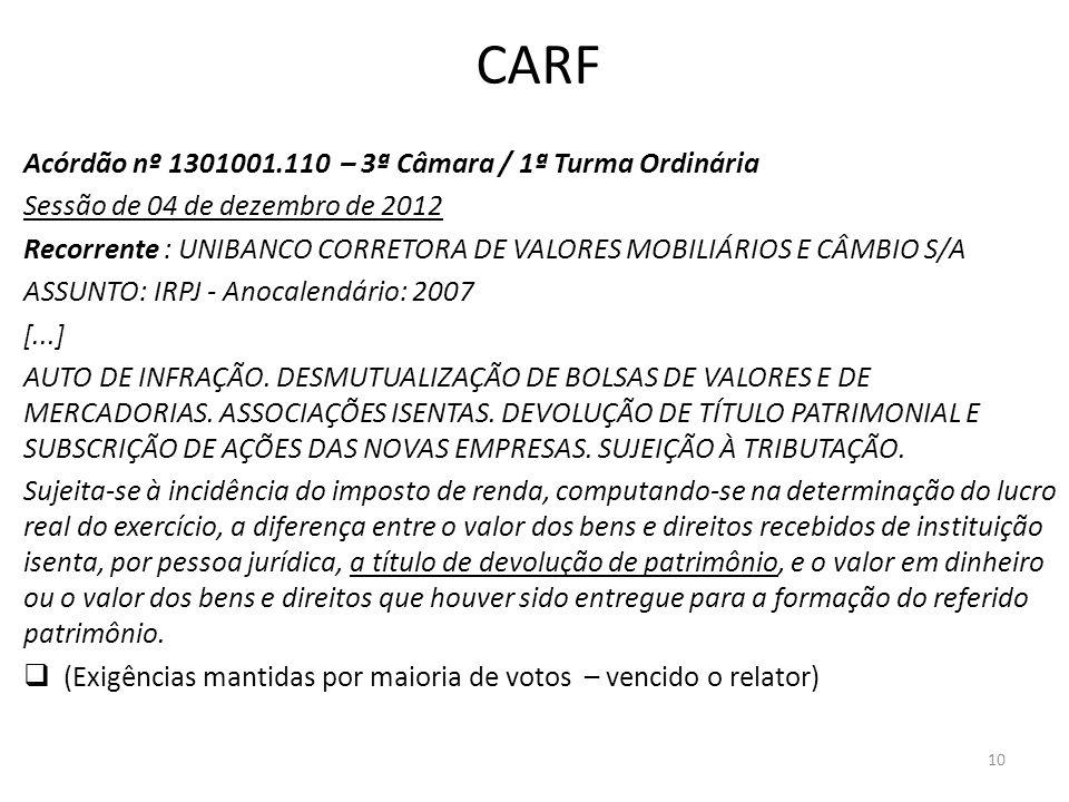 CARF Acórdão nº 1301001.110 – 3ª Câmara / 1ª Turma Ordinária