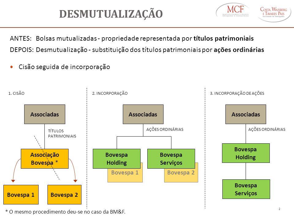 DESMUTUALIZAÇÃO ANTES: Bolsas mutualizadas - propriedade representada por títulos patrimoniais.