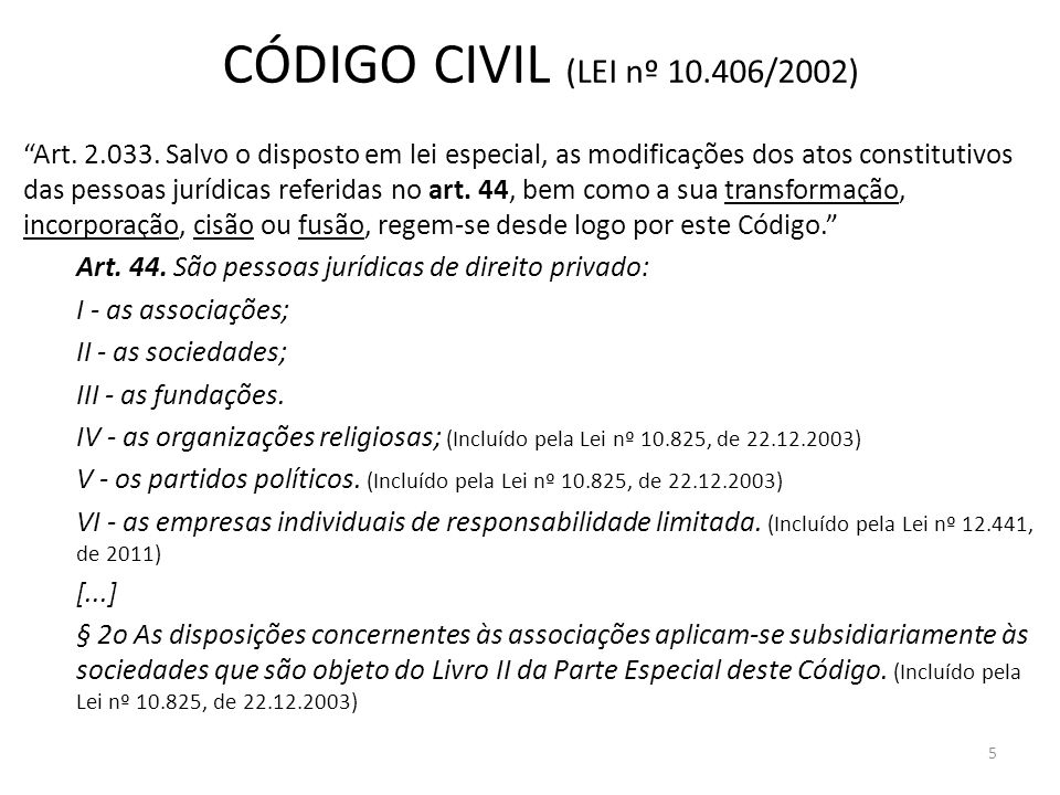 CÓDIGO CIVIL (LEI nº 10.406/2002)