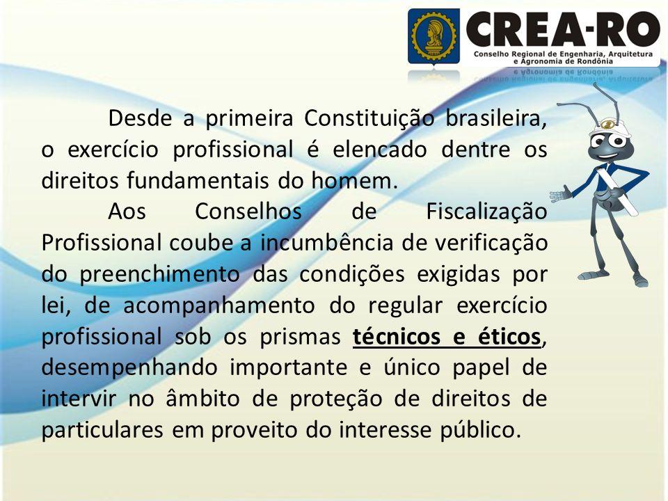 Desde a primeira Constituição brasileira, o exercício profissional é elencado dentre os direitos fundamentais do homem.