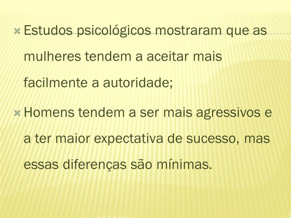 Estudos psicológicos mostraram que as mulheres tendem a aceitar mais facilmente a autoridade;