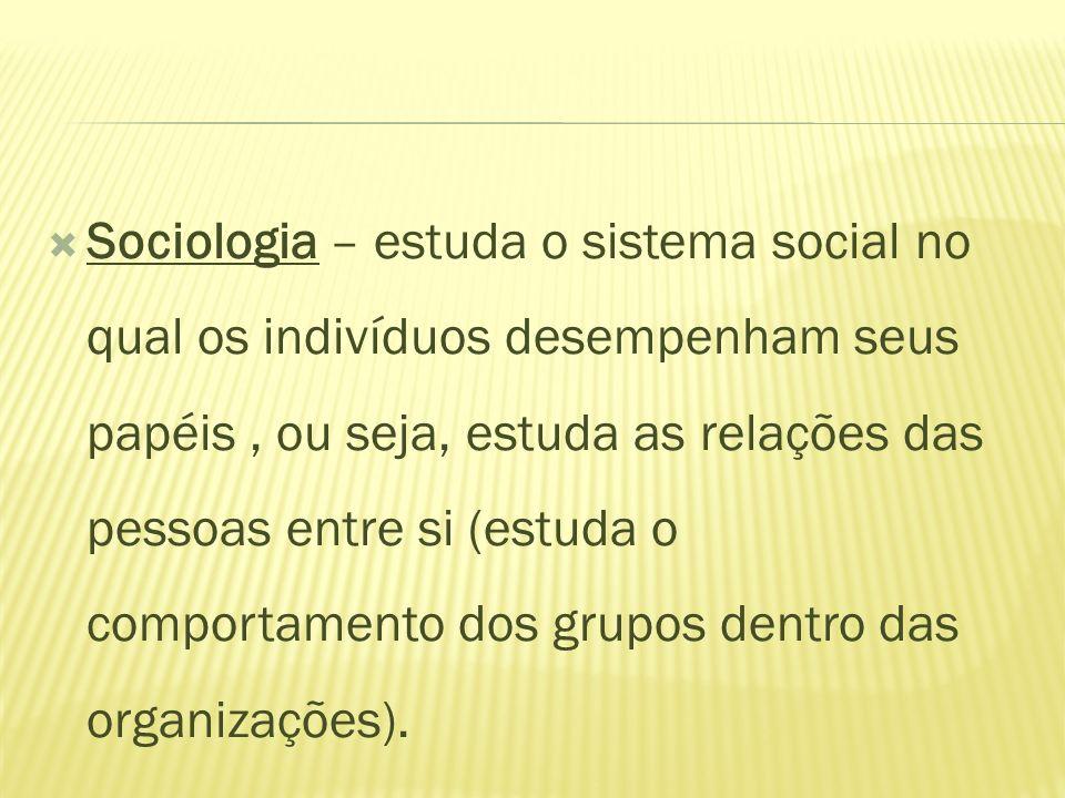 Sociologia – estuda o sistema social no qual os indivíduos desempenham seus papéis , ou seja, estuda as relações das pessoas entre si (estuda o comportamento dos grupos dentro das organizações).