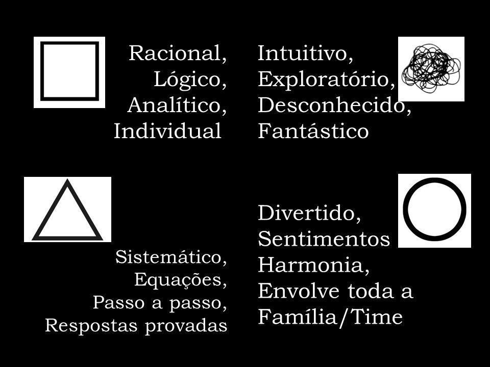 Racional, Lógico, Analítico, Individual Intuitivo, Exploratório,