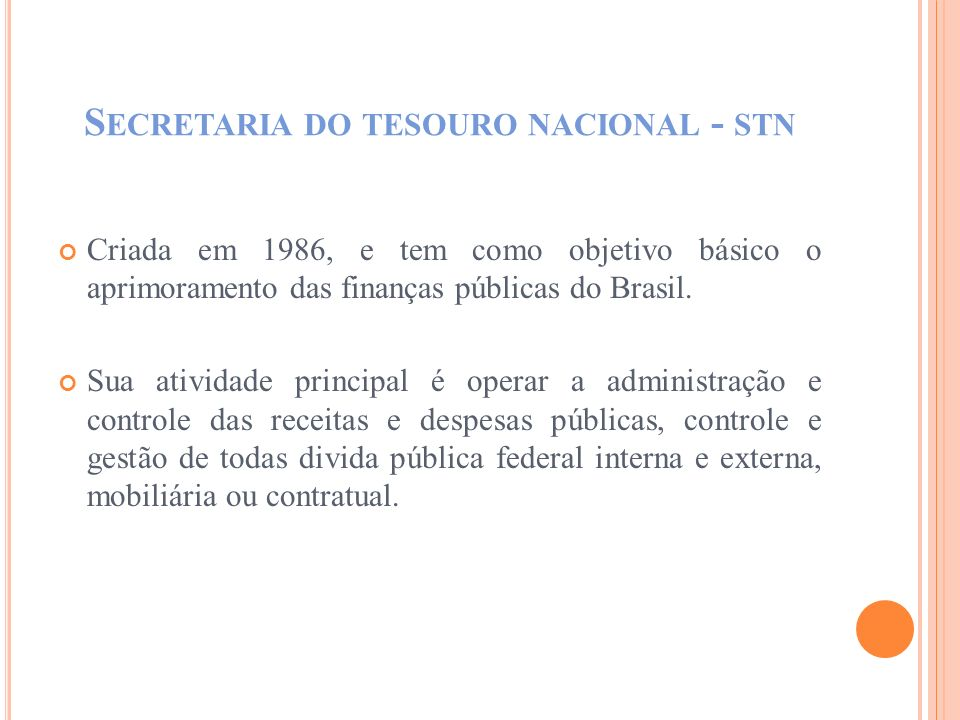 Secretaria do tesouro nacional - stn