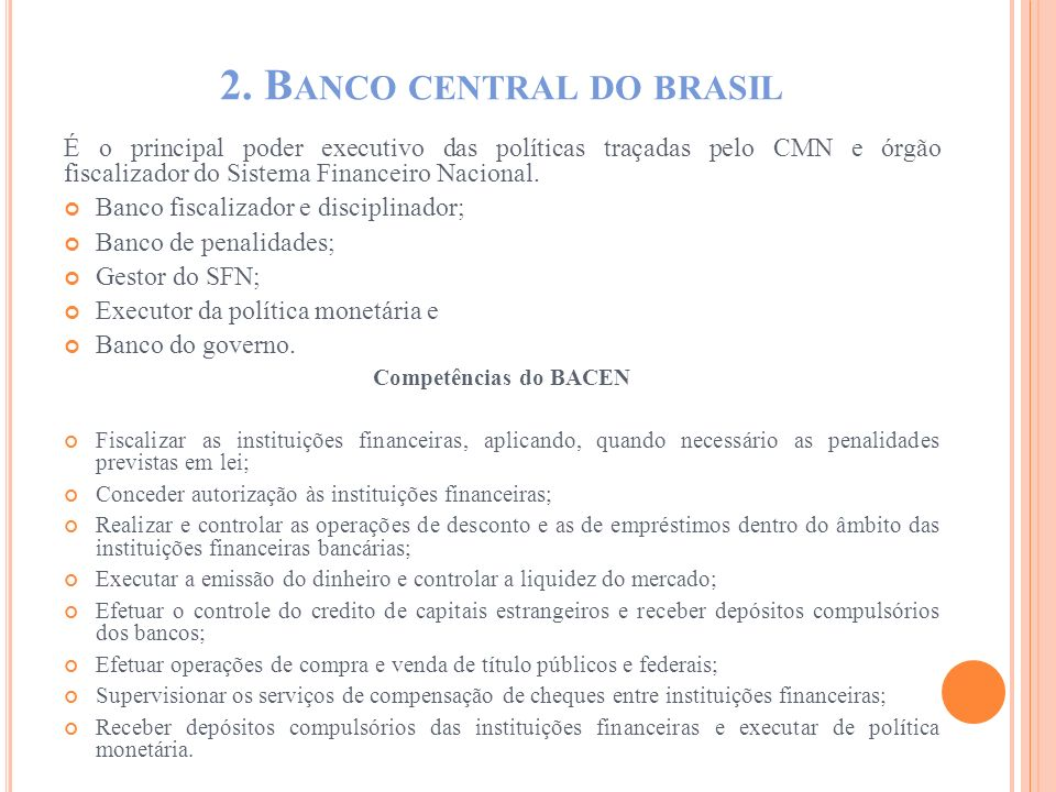 2. Banco central do brasil