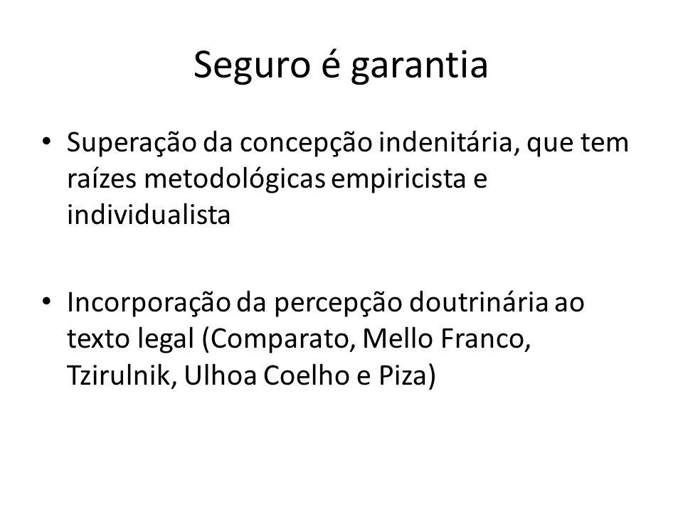 Seguro é garantia Superação da concepção indenitária, que tem raízes metodológicas empiricista e individualista.