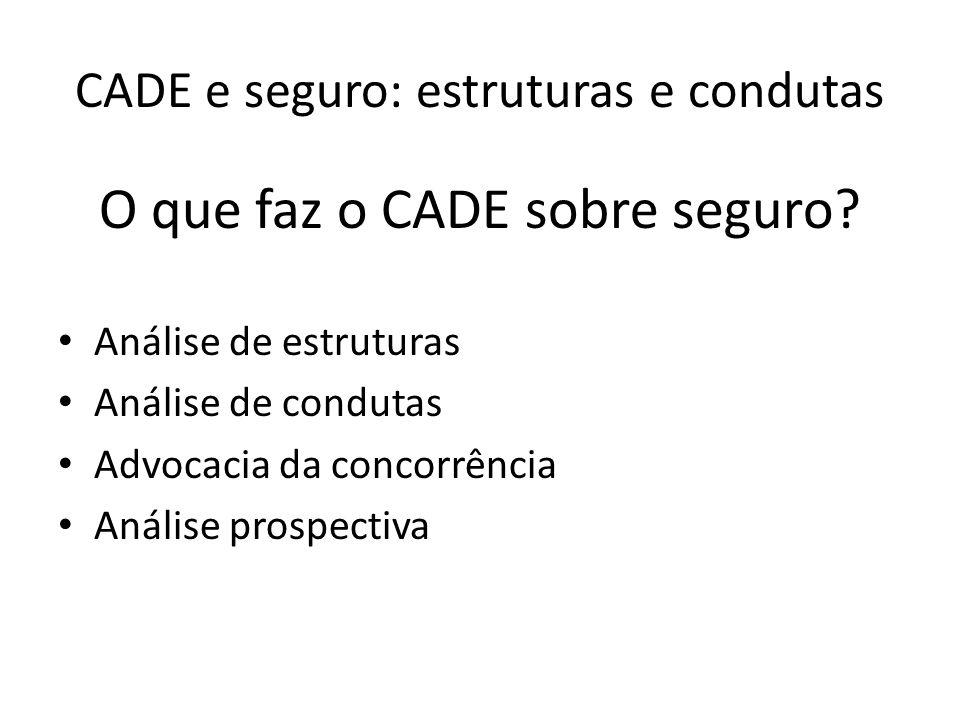 CADE e seguro: estruturas e condutas