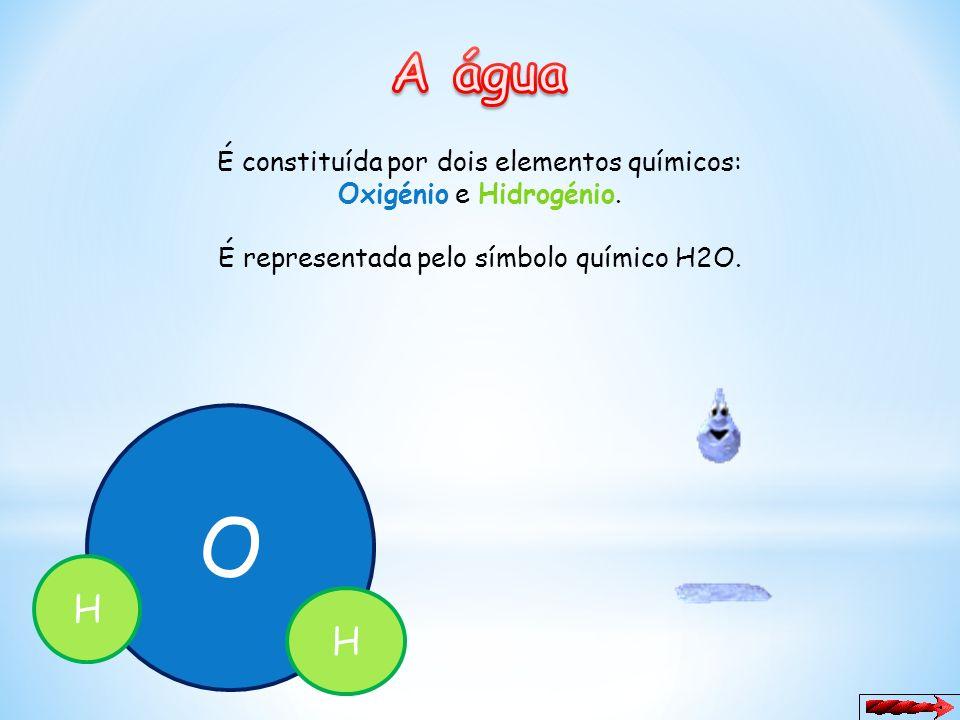 O A água H H É constituída por dois elementos químicos: