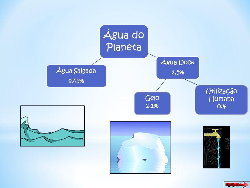 Água do Planeta Utilização Humana Gelo 0,4 2,1% Água Doce 2,5%