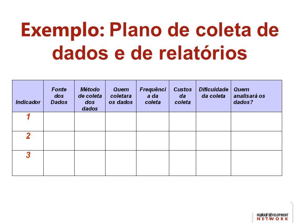 Exemplo: Plano de coleta de dados e de relatórios