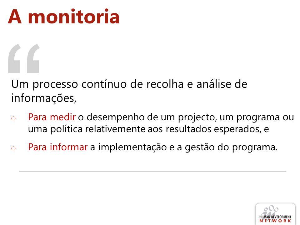 A monitoria Um processo contínuo de recolha e análise de informações,