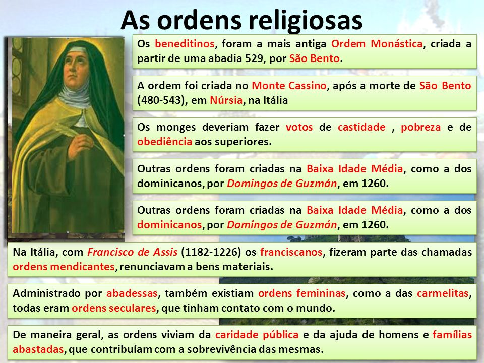 As ordens religiosas Os beneditinos, foram a mais antiga Ordem Monástica, criada a partir de uma abadia 529, por São Bento.