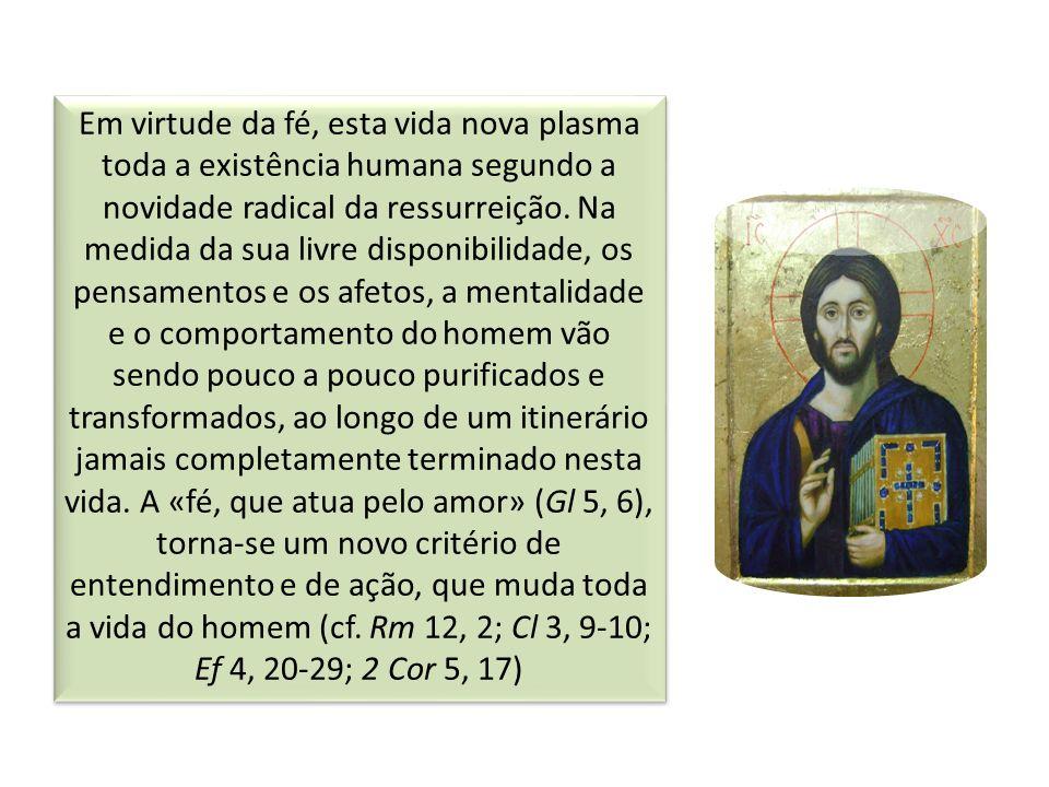 Em virtude da fé, esta vida nova plasma toda a existência humana segundo a novidade radical da ressurreição.