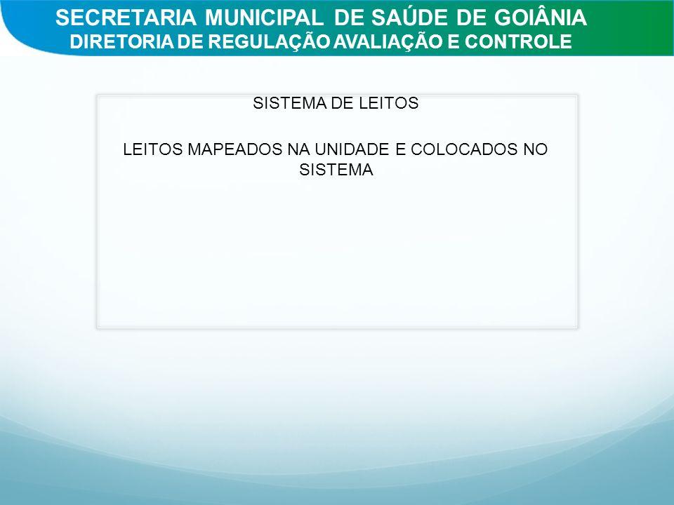 SISTEMA DE LEITOS LEITOS MAPEADOS NA UNIDADE E COLOCADOS NO SISTEMA