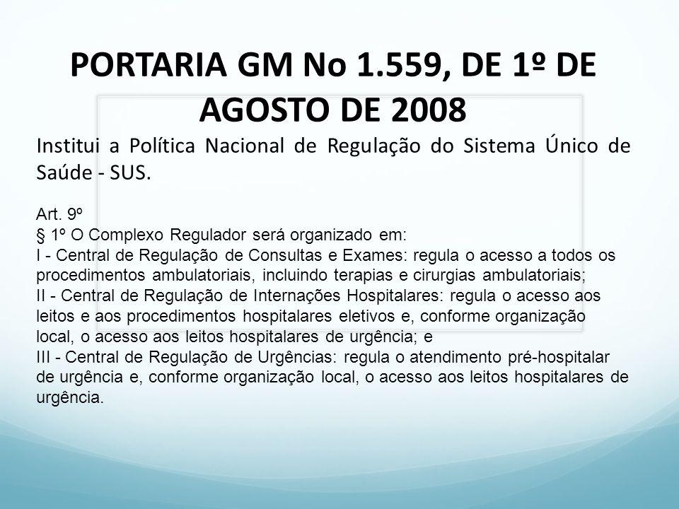 PORTARIA GM No 1.559, DE 1º DE AGOSTO DE 2008