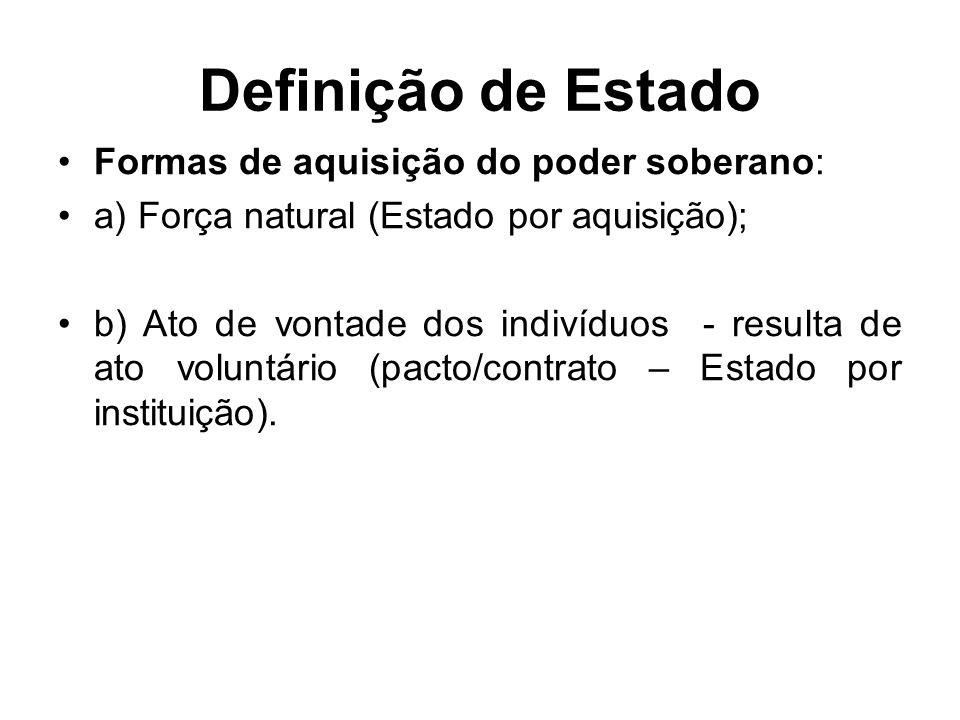 Definição de Estado Formas de aquisição do poder soberano: