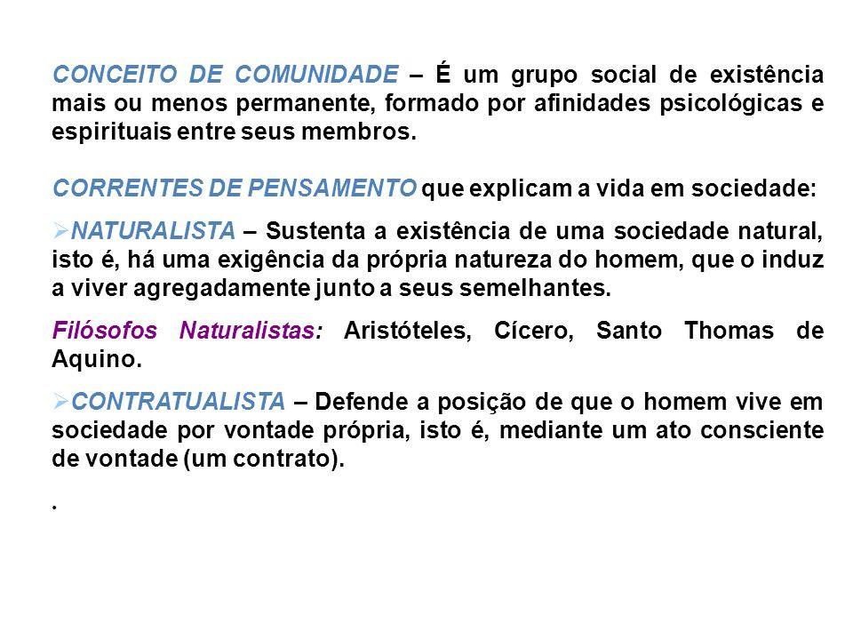 CONCEITO DE COMUNIDADE – É um grupo social de existência mais ou menos permanente, formado por afinidades psicológicas e espirituais entre seus membros.