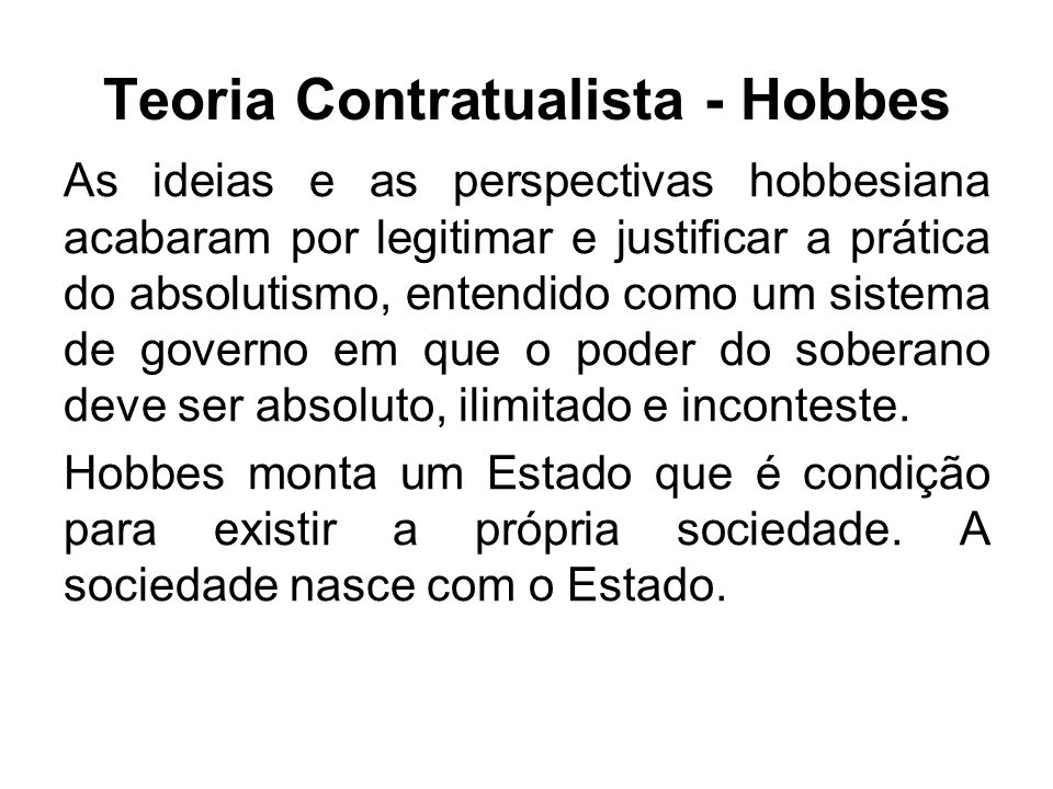 Teoria Contratualista - Hobbes