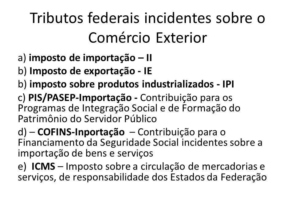 Tributos federais incidentes sobre o Comércio Exterior