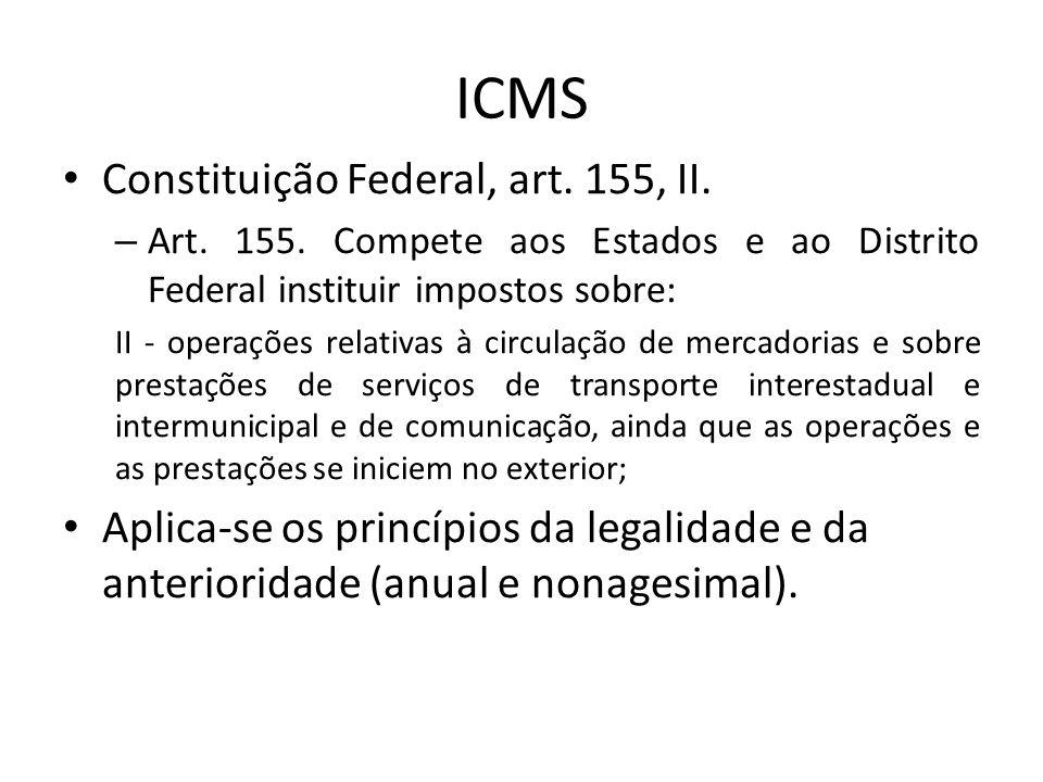 ICMS Constituição Federal, art. 155, II.
