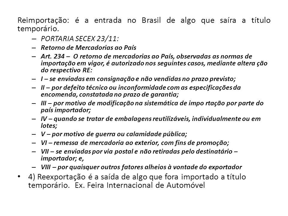 Reimportação: é a entrada no Brasil de algo que saíra a título temporário.