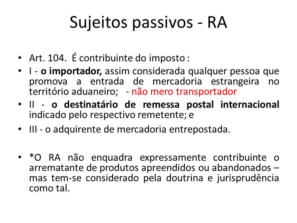 Sujeitos passivos - RA Art. 104. É contribuinte do imposto :