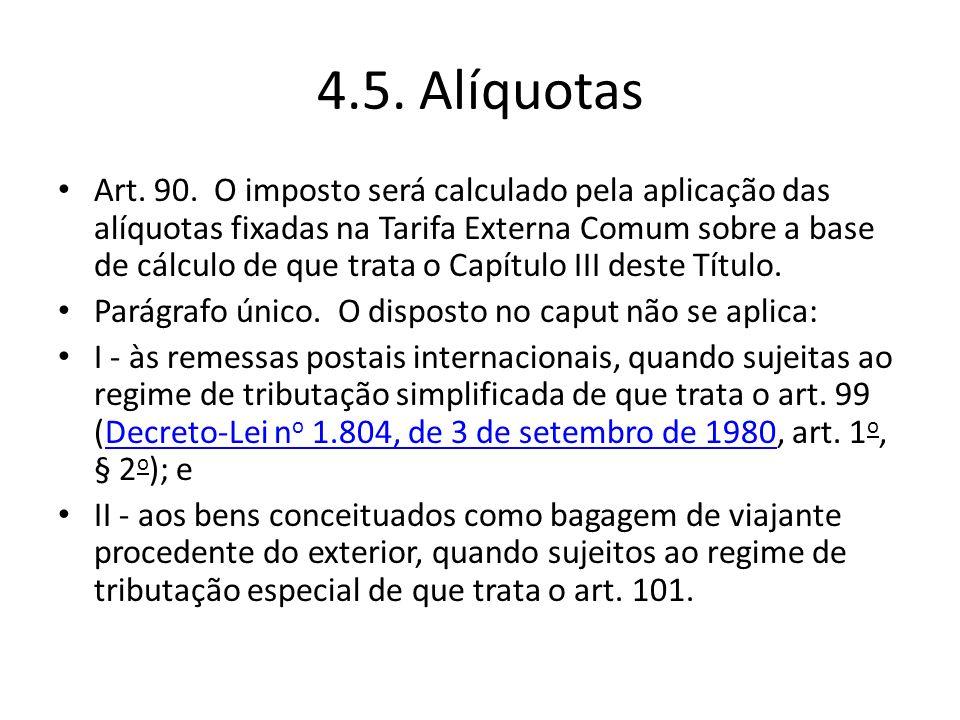 4.5. Alíquotas