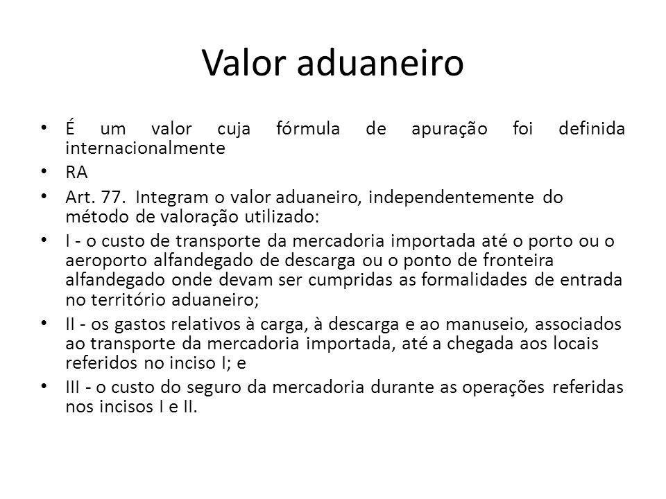 Valor aduaneiro É um valor cuja fórmula de apuração foi definida internacionalmente. RA.