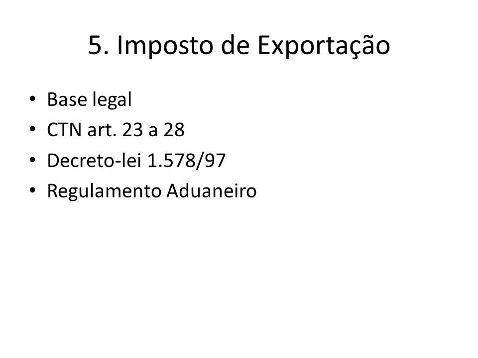 5. Imposto de Exportação Base legal CTN art. 23 a 28