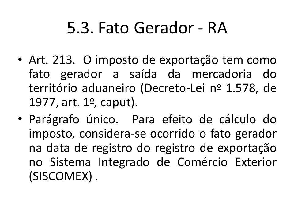 5.3. Fato Gerador - RA