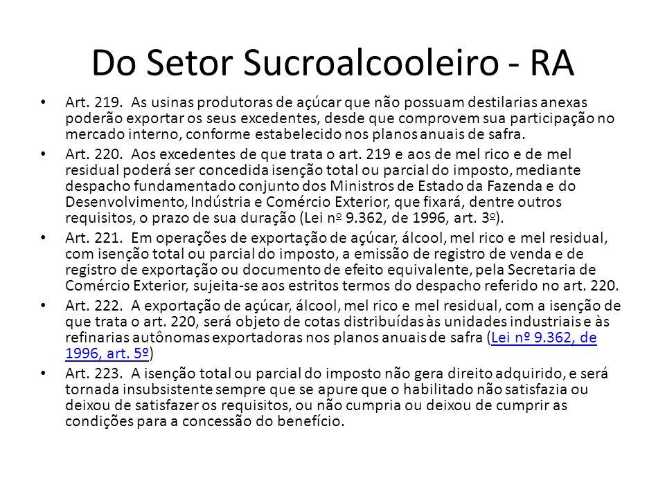 Do Setor Sucroalcooleiro - RA