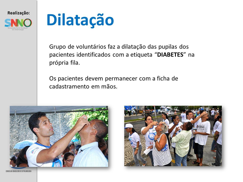 Dilatação Grupo de voluntários faz a dilatação das pupilas dos pacientes identificados com a etiqueta DIABETES na própria fila.