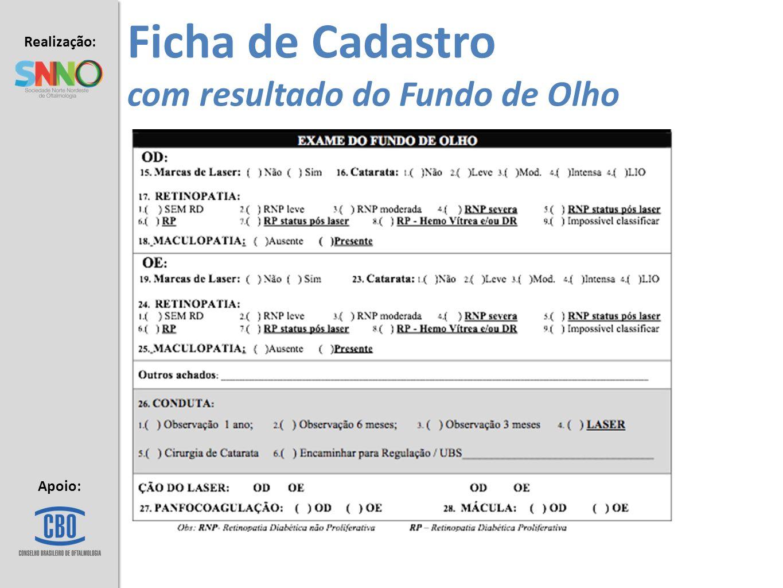 Ficha de Cadastro com resultado do Fundo de Olho