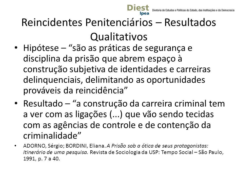 Reincidentes Penitenciários – Resultados Qualitativos
