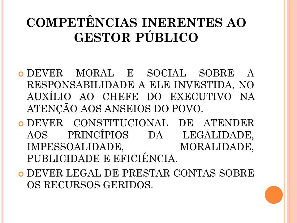 COMPETÊNCIAS INERENTES AO GESTOR PÚBLICO