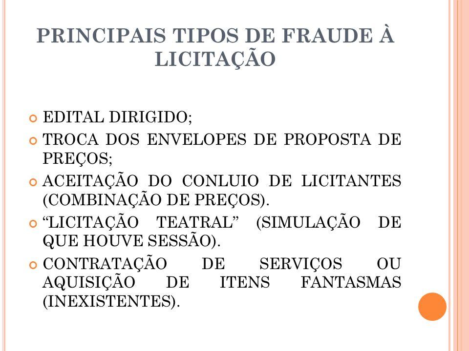 PRINCIPAIS TIPOS DE FRAUDE À LICITAÇÃO