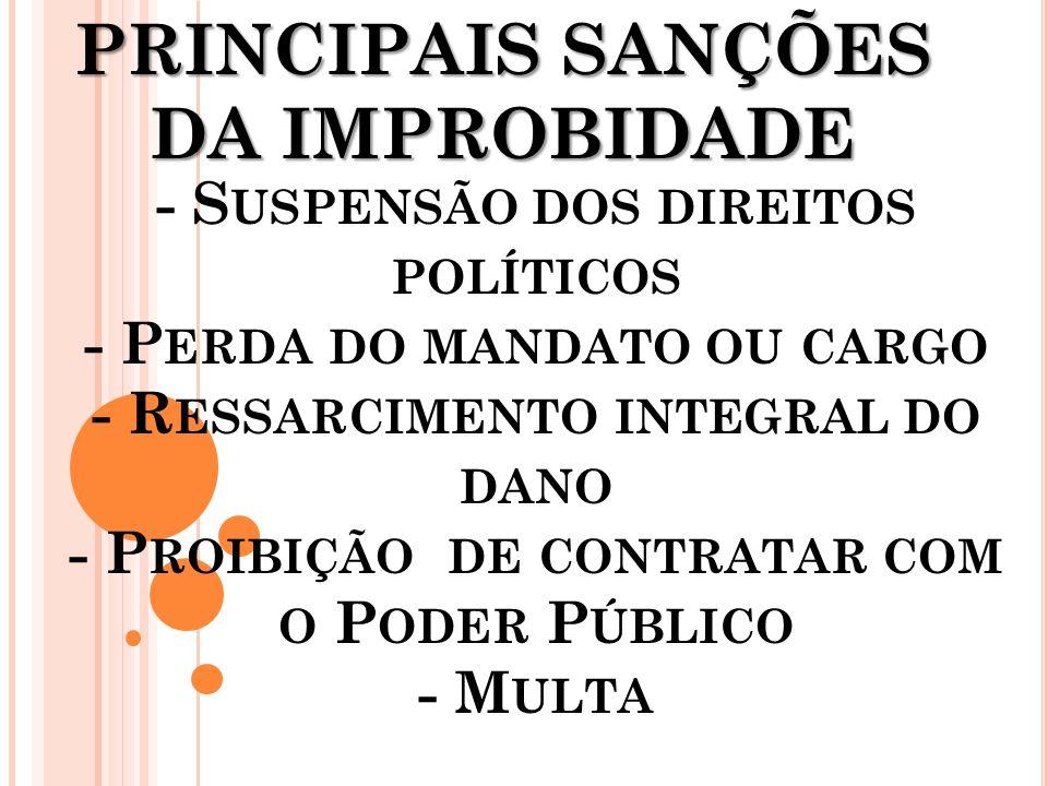 PRINCIPAIS SANÇÕES DA IMPROBIDADE