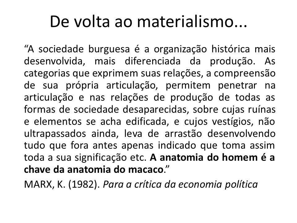 De volta ao materialismo...