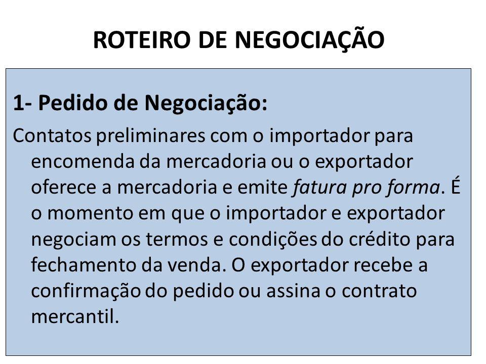 ROTEIRO DE NEGOCIAÇÃO 1- Pedido de Negociação: