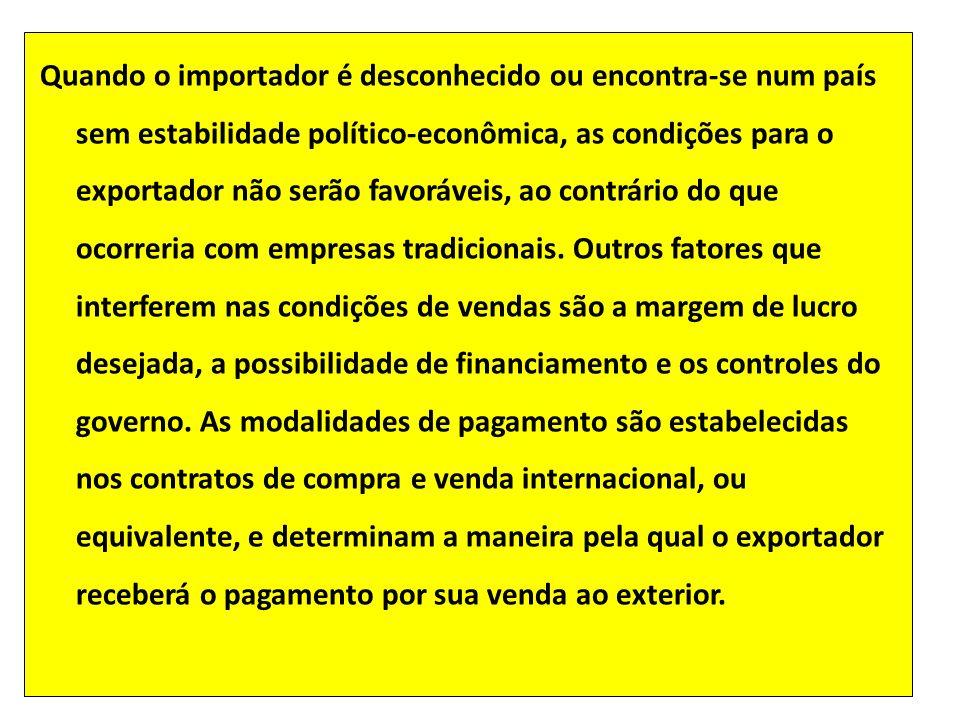 Quando o importador é desconhecido ou encontra-se num país sem estabilidade político-econômica, as condições para o exportador não serão favoráveis, ao contrário do que ocorreria com empresas tradicionais.
