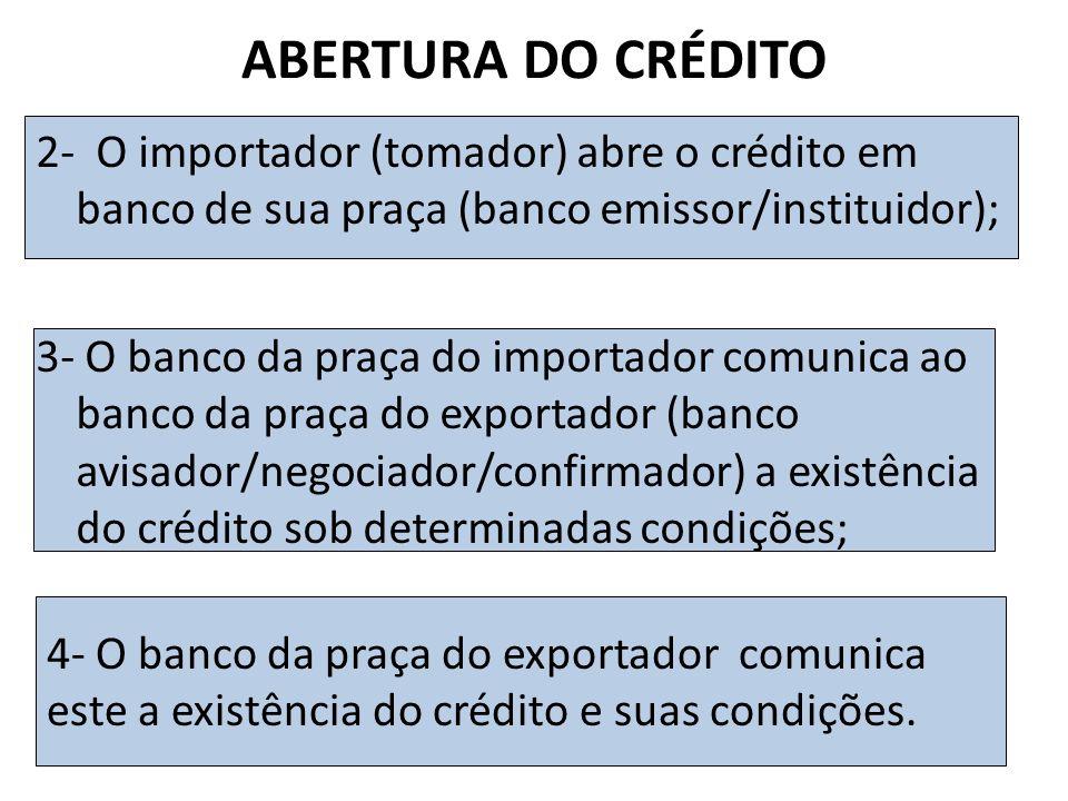 ABERTURA DO CRÉDITO 2- O importador (tomador) abre o crédito em banco de sua praça (banco emissor/instituidor);